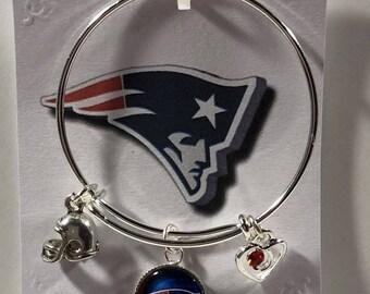 Little Girls New England Patriots charm  theme  bangle bracelet