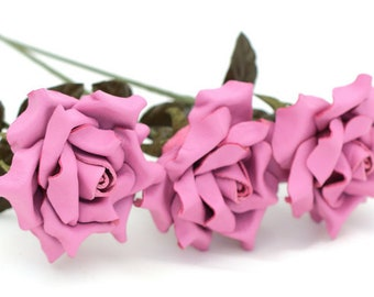 Bright pink leather rose bouquet third Anniversary wedding gift Long Stem leather Flower Valentine's 3rd Leather Anniversary Mother's Day