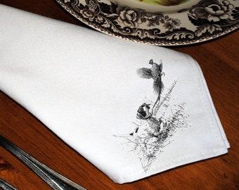Dinner Napkins with Pointer & Pheasant Design - Set of Six