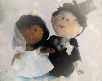 Interracial Bride and Groom Wedding cake Made to look like you - Personalised Wedding Cake Topper