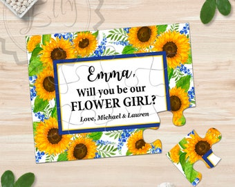 Personalized Sunflowers Puzzle Invitations Will You Be my Flower Girl Gift Be Flower Girl Card Ask Flower Girl Proposal Asking Flower Girl