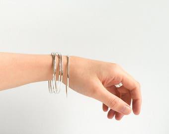 Silver Bangle - Stacking bangles - Silver Hammered Bracelets - Stacking Bracelet - Hammered Cuff - Silver Cuff - Silver Bangles