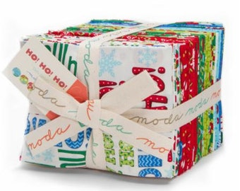 CLEARANCE!! Ho Ho Ho Christmas Holiday Fat Quarter Bundle by Moda - 32 fat quarters plus 2 panels 100% Cotton Red, Green, Blue, White, Santa