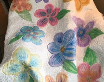 Flower Power  -   Hand painted, handmade, free motion quilted, original design, quilt for sale, customizable, unique,