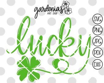 Lucky svg cut file, St. Patricks day svg, St Patricks Day shirt svg, St. Patricks digital design, Saint Patricks Day Bubble Letters svg