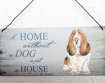 Basset hound Metal hanging sign