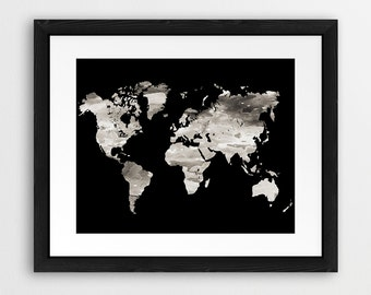 World map black and gold printable world map silhouette gold world map grey printable file world map silhouette neutral grey black and white modern gumiabroncs Choice Image