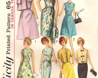 Simplicity 5398 SHEATH or A-LINE SKIRT 1960s Dress Jacket  7 Way Wardrobe Size 14 Bust 34 c. 1964