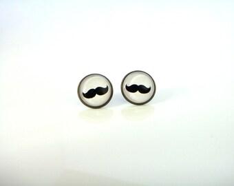 18mm Mustache Earrings, Black Mustache Post Earrings, Mustache Stud Earrings, 18mm Mustache Studs Mustache Jewelry, Black and White Earrings