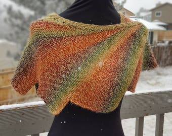 Hand Made, Hand Knit Red/Orange/Blue/Green Wingspan Shawl, Shawlette, Women's Accessory