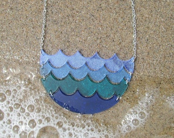 Blue Ocean Wave Necklace, Statement Large Water Necklace Pendant, Sea Surf Beach Wave