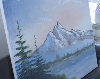 Table decoration mountain landscape oil painting wall House VINTAGE gift
