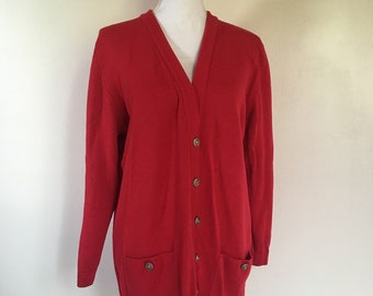 salvation armani vintage red cardigan - maban of scotland - scotland red cardi - 100% wool - long cardi - 1990's style - womens vintage