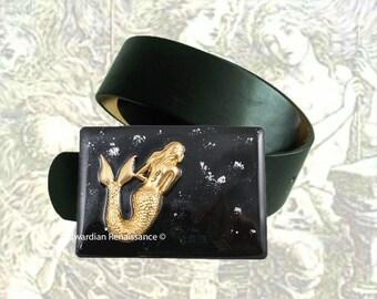 Mermaid Belt Buckle Inlaid in Hand Painted Enamel Black w SIlver Splash Design Nautical Fantasy Sea Siren Inspired with Color Options