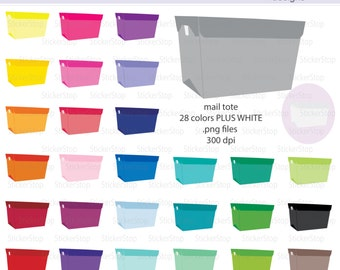 Post Office Bin or Mail Tote Icon Digital Clipart in Rainbow Colors - Instant download PNG files - PLUS white icon