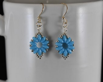Blue and Silver Flower Chain Earrings