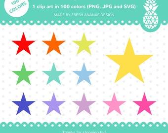 100 Colors Clip Art: Star, Star Clip Art, Star Clipart, Star SVG, Stars Clipart, Rainbow Stars, 100 colors, Clip Art, Clipart, SVG, Vector