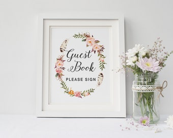 Printable wedding guest book sign, Wedding guest book, Boho guest book sign printable, Floral sign Instant download,The Katie collection