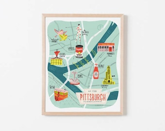 Illustrated Map of Pittsburgh