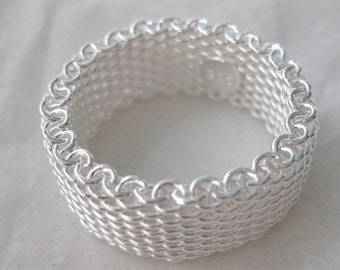 Sterling Silver Mesh Ring Size 7.5