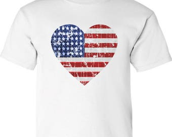 USA Heart Flag Distressed Youth Kids Shirt  T shirt Tops 4th of July Independence Day Heart Flag