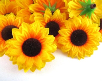 25 Yellow Sun Flower Head - Artificial Silk Flower - 1.5 inches - Wholesale Lot - for Wedding, Make Hair clips, headbands