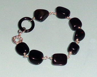 Black Onyx Nuggets Sterling Silver Bracelet Spring Ring  Clasp