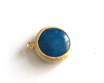 1pc- Matte Gold Plated Blue jade Charm-20x16mm (025-043GP)