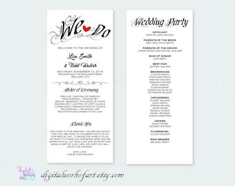 DIY Rustic Wedding Program Template Printable, Wedding Program Printable, We Do, Ceremony Printable Template, Editable PDF Template