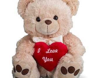 I Love You Beige Teddy Bear, plush bear, valentine's day, valentine's day gift, valentine's day bear, heart, embroidered -gfyNP01571