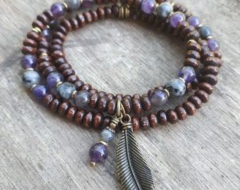 Amethyst and Larkavite, Peace and Protection Boho Convertible Necklace can also be worn as a 3 wrap bracelet.