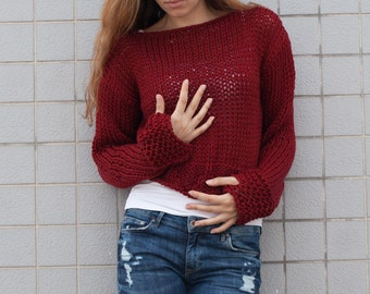 Hand knit woman cotton sweater cropped top cover up loose weave burgundy wine