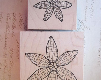 2 rubber stamps - QUiLTED FLOWERS - Outlines Rubber Stamp Co - 111 and 577