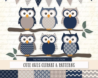 Patterned Navy Owls Clipart and Digital Papers - Navy Owl Clipart, Owl Vectors, Baby Owls, Cute Owls