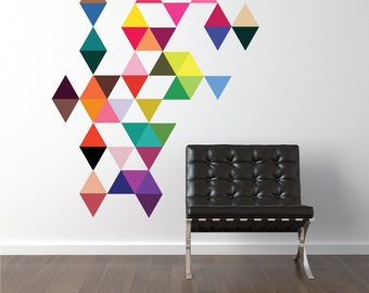 Triangle Wall Decals 45 Mod Colors Triangle Wall Decal, Geometric Modern Art Removable and Reusable Fabric Eco-friendly Wall Stickers