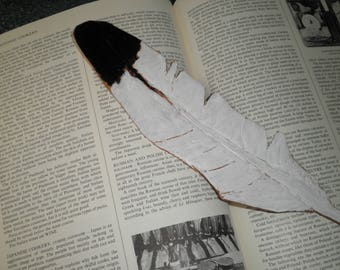 Bookmark, Eagle Feather,  Leather, Gift for her, Gift for kids, Gift for him
