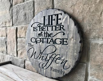 Carved Wood Cottage Sign, Personalize
