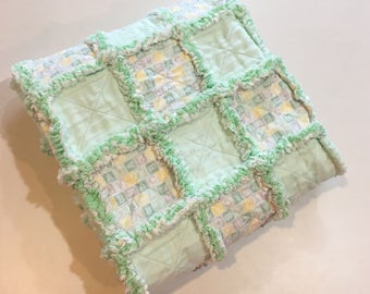 """Mint Green, Gray and Yellow ABC Blocks Baby Rag Quilt   32"""" x 40"""""""