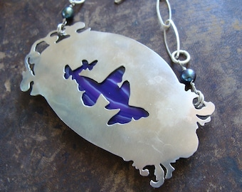 Necklace Butterfly sterling silver - Metalwork silver purple agate double face - Big Christmas Sale