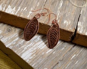 Copper Leaf Hand Engraved Earrings - ReaganJuel: Mehndi14