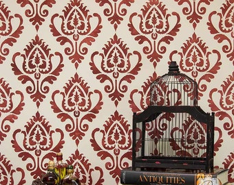 Large Ikat Pattern Wall Stencil for Painting Boho Chic Wall Design - Asian, Indian, Moroccan Mural or Wallpaper