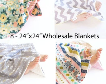 "Wholesale Set of 8 - 24""x24"" Baby Blankets, Security Blankets, You Choose Prints"