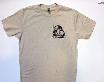 mushroom t shirt, fungi, mens mushroom tee, screenprinted tshirt, 1AEON hand silk screened cream men's t shirt S-XXL