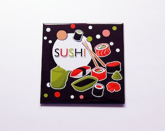 Sushi Magnet, Kitchen Magnet, Fridge magnet, Food Magnet, Sushi Lover, Brown, Orange, Green, sushi (7180)