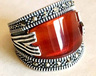 925 sterling silver mens rings natural red agate carnelian stone aqeeq 8 us size