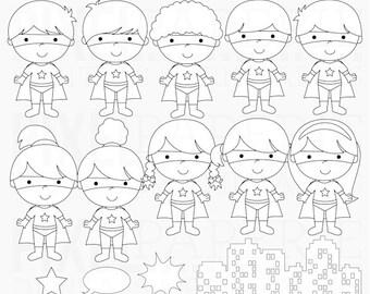 digital stamps super hero superhero clipart clip art - Super Kids Digital Stamps