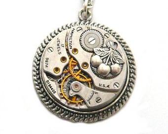 steampunk gear mechanism watch with cherry necklace