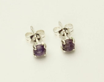 Charoite Silver Earrings Purple Charoite Post Earrings in Sterling Silver Stud Earrings