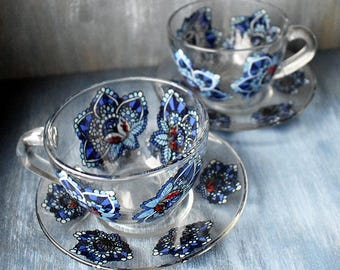Midnight flowers tea-set for two