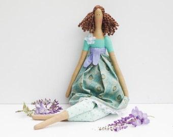 Tilda doll handmade doll, fabric doll cloth doll turquoise brunette in peacock dress rag doll softie plush baby shower & nursery decor gift